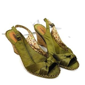 Seychelles Green Knot Wedge Sandals Size 9
